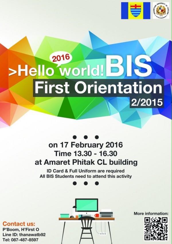 BIS FIRST ORIENTATION